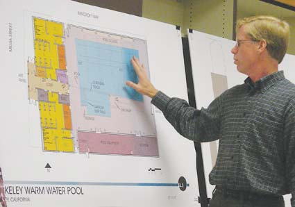 ELS architect Ed Nolen explains the design of the warm pool at the Disability Commission meeting. Photograph by Riya Bhattacharjee.