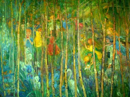 Animals, flowers, and children fill a fantastical birch woodland in a