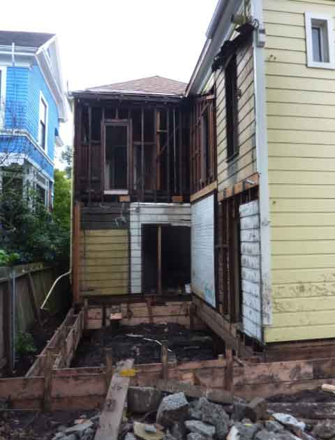 2205 Blake Street, the second of the two Bartlett Houses, had a portion of the rear removed during foundation work earlier this summer.