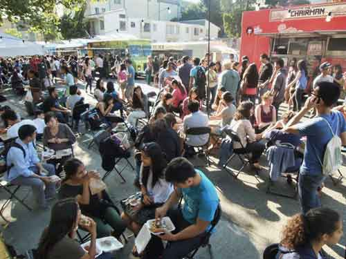 Opening of Thursday's food-truck event at Telegraph/Haste was jam-packed.