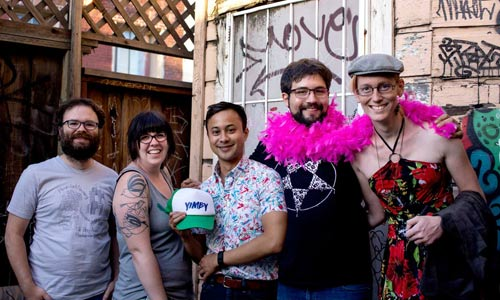 "Founders of East Bay Forward,host of YIMBYtown 2017 and ally of San Francisco BARF. L to R : Ian Monroe, Libby Lee-Egan, Greg Magofña (former aide to former  Berkeley mayor Tom Bates) Diego Aguilar-Canabal, (appointed to Berkeley commissions by Councilmember Lori Droste), and Victoria Fierce, described on EBF website as ""hacker-at-large""."