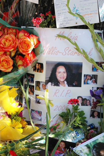 Anne Wagley: Photos of Meleia Willis-Starbuck adorned a shrine on College Avenue near Dwight Way where the Berkeley 19-year-old  was shot to death early Sunday morning..