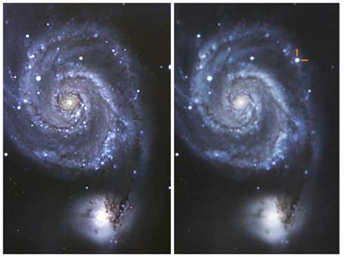 The image on the left shows The Whirlpool Galaxy in 2009. The image on the right highlights the supernova as it appeared on July 8, 2011. The image was taken through Chabot's 36-inch reflector telescope.  The supernova's name is currently designated as SN 2011dh.
