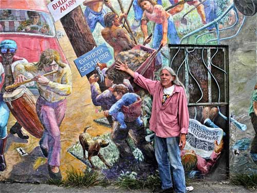 Tour of Berkeley's People's Park starts at Telegraph and Haste, at the famous People's Park mural by Osha Neumann. Our guide: Michael Delacour, one of the last standing park founders.