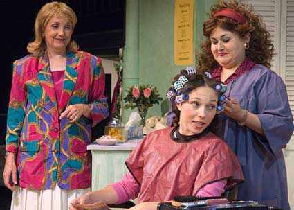 Catherine Bucher, Analisa Svehaug (with curlers) and Jacqui Herrera (as stylist) are half the ensemble cast of STEEL MAGNOLIAS.