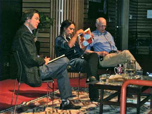 Mark Hertsgaard, Winona LaDuke and Stewart Brand at the Brower Center.