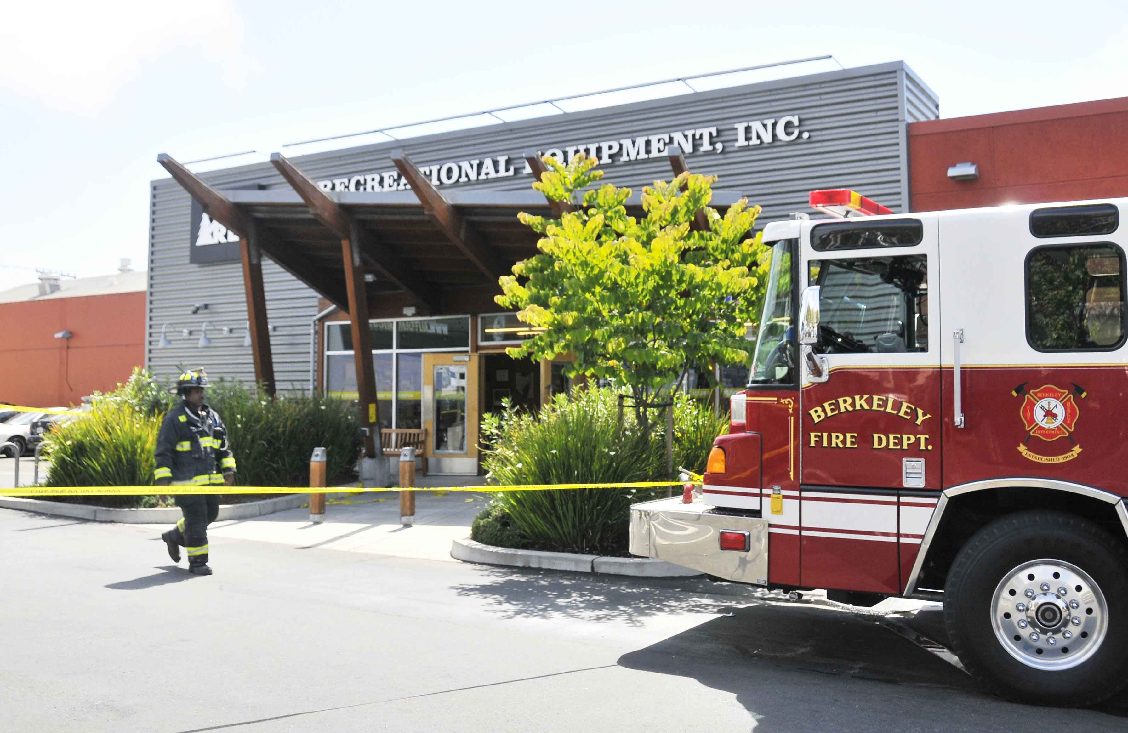 The Berkeley Fire Department's HazMat team evacuated the REI store on San Pablo Avenue Wednesday.