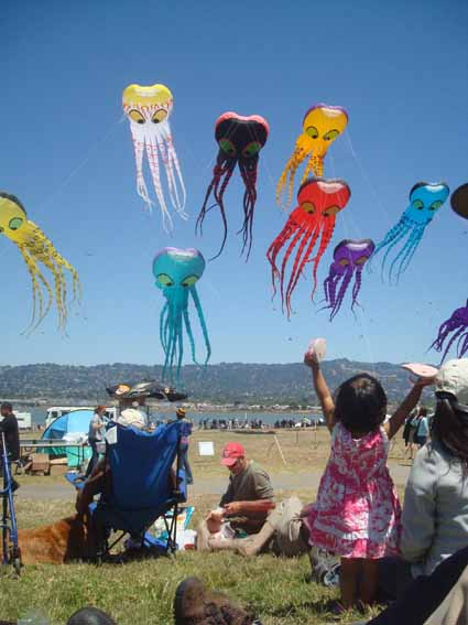 A small spectator raises her arms in delight as the sky fills with octopi at last weekend's Berkeley Kite Festival at Cesar Chavez Park on the Berkeley Marina.