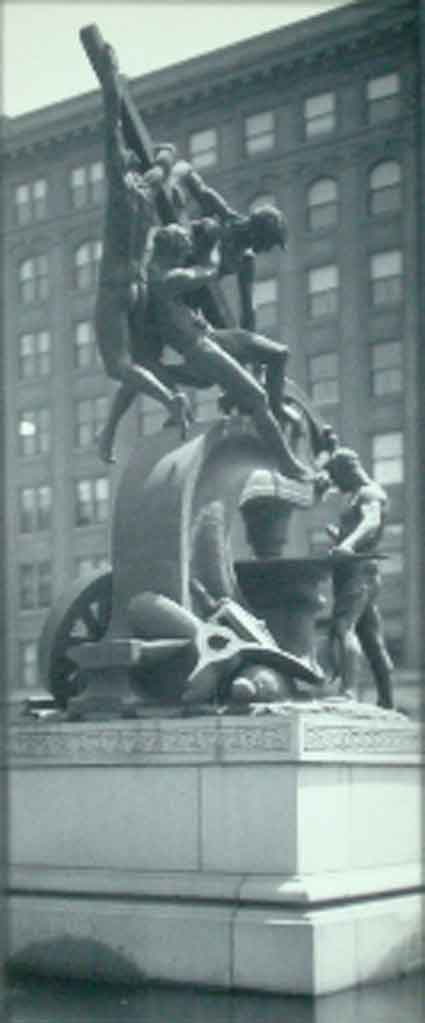 This early 20th century view shows the Mechanics Monument on Market