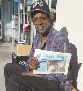 LARRY WYATT hawks Street Spirit, a newspaper about homeless issues, in front of Reel Video. California is now ranked as the nation's meanest state for those on the streets.
