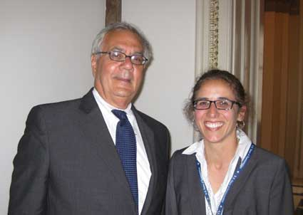 Congressman Barney Frank and San Lorenzo Valley School District high school government teacher Cindy Martinez, a big fan who asked him to pose with her in the halls of Congress last month. (Full disclosure: She's my niece.}