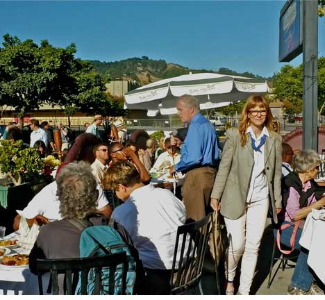 California gold. outside Bacheesos Wednesday at Kriss Worthington's campaign lunch-launch. Jacquelyn McCormack, right,  has just finished speaking. Worthington, middle. East-bay hills frame event.