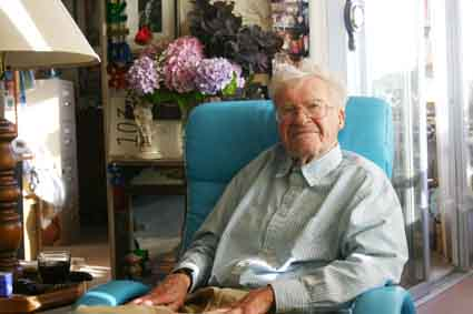 Erling Horn, 104, pictured here at his Berkeley Town House apartment following a birthday celebration, recalls his long and eventful life.