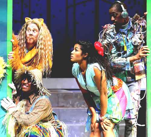 Lion (Benjamin Pither), Scarecrow (Aejay Mitchell), Dorothy (Taylor Jones), and Tin Man (Reggie D. White)