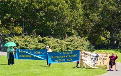 Gray-haired elderly demonstrators, wizened veterans of sixties