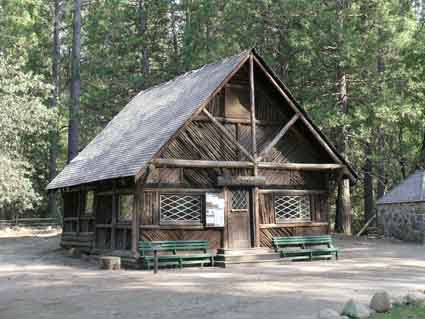 This stage office (right) was erected by the Yosemite Valley Railroad Company in 1910 for its agent, the Wells Fargo Company.