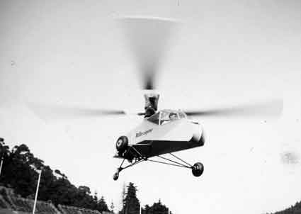 "The ""Hiller-copter"" rises within the Stadium in another 1944 view. The