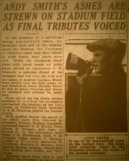 The Berkeley Daily Gazette headlined the Stadium funeral arrangements