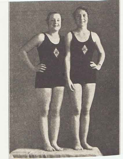 Janet Hartzell, left; Janice Graff, right; February 1932, BCC RECORD