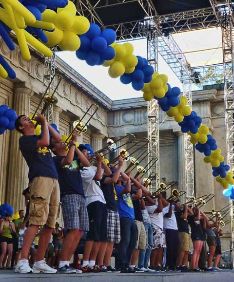 The California Marching Band provided a rousing introduction to the U.C. Berkeley campus for new students.