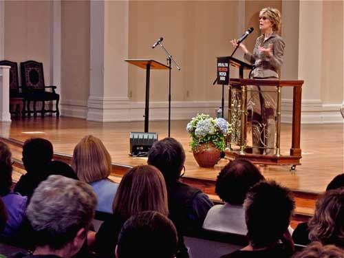 Jane, Prime-time, Fonda, 73, addresses the faithful at Berkeley's first Congregational Church last Wednesday