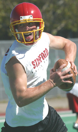 QUARTERBACK JEFF SPELLMAN, a senior, returns as the  sole offensive leader of the gridiron crew at the newly refurbished Berkeley High School.