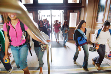 Jakob Schiller: Students stream into the newly remodeled C Building at Berkeley High School after lunch period Thursday afternoon..