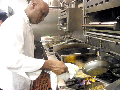 Chef Eddie Blyden prepares spaetzle in Henry's kitchen.