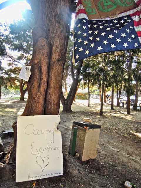 People's Park tree-sit site, Monday. Sentiments of a new generation of protesters, center;