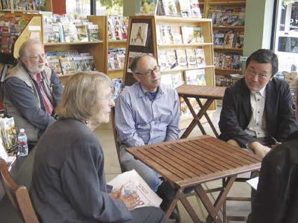 Three generations of Cody's Books owners, Pat Cody, Andy Ross and new owner Hiroshi Kagawa, met with the press at the Cody's on Fourth Street Thursday. Behind them sat Peter Goodman, president of Stone Bridge Press, the Berkeley-based publisher also owned by Kagawa. Photo by Judith Scherr.