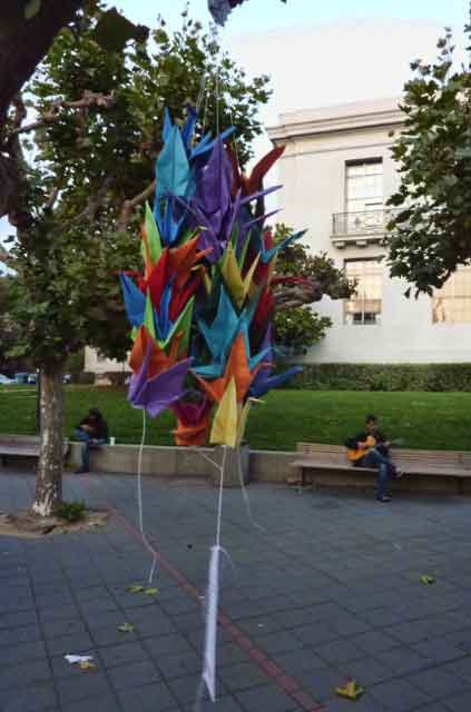 Hanging cranes in Sproul Plaza comprised a different 911 memorial on the UC campus.