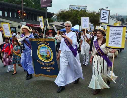 Solano Stroll marchers honor the centennial of women's suffrage in California.