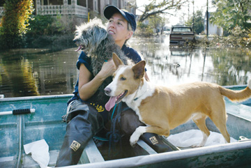 Jakob Schiller: Riding the Flood Waters in New Orleans. Jane Harrison, a member of the Humane Society of America, rescues dogs left behind by their owners in the Garden District of New Orleans last week. Daily Planet photographer Jakob Schiller was in New Orleans last weekend to cover the aftermath of Hurricane Katrina. S