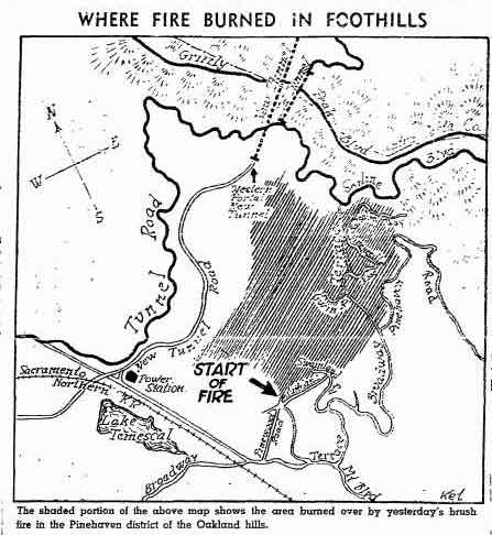 "This map from the September 27, 1937 Oakland Tribune, shows the fire area; it was published while the fire was still burning eastwards.   Highway 24 now runs up the ""New Tunnel Road"" route that crosses the map, to the Caldecott Tunnel (shown as ""Western Portal of New Tunnel"" on map).   Lake Temescal at lower left."