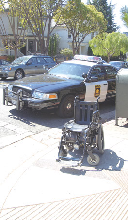 A WHEELCHAIR OCCUPANT received only minor injuries in a Telegraph Avenue collision Sunday afternoon.