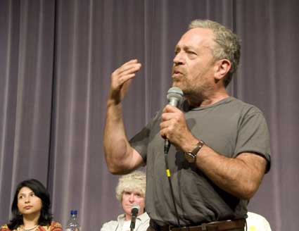 Former Secretary of Labor Robert Reich headlined Wednesday night's teach-in at Wheeler Auditorium.