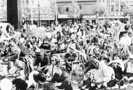 Disabled People's Civil Rights Day march and rally, San Francisco, Oct. 20, 1979. Photograph by Kenneth Stein.