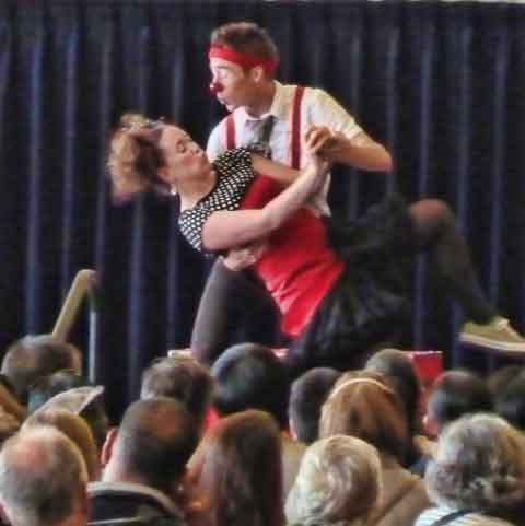 The Pi Clown comedy troupe performed in front of hundreds of adults and children in Pauley Ballroom at Cal Performance's Free for All day in Berkeley.