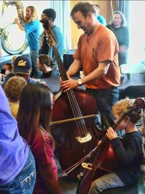 "There were elements of both cacophony and musical precociousness in the ""Instrument Petting Zoo"" for children on the third floor of the Student Union."