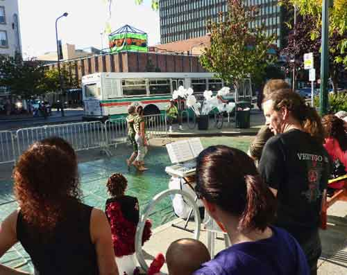 The Shattuck performances took place against a rumbling backdrop of AC Transit buses.