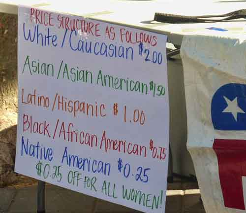 "The College Republican ""price list"" offering the same items at different prices, based on race and ethnicity."