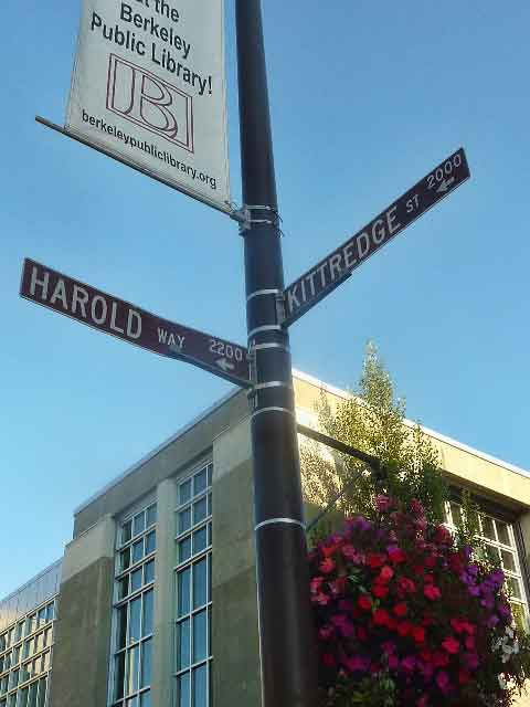 "Dharma College, a private institution recently moved to Downtown Berkeley, is asking the City of Berkeley to change the name of the street in front of its facilities to ""Dharma Way"".    ""Harold Way"", has been the name of the street for almost a century."