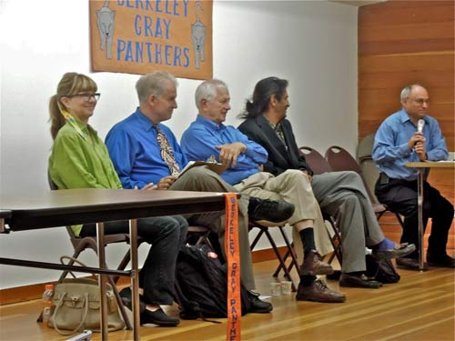 Four mayoral candidates. Empty seats are for Bernt Wahl, no-show, and Kahlil Jacobs-Fantauzzi, who came after school let out at the Berkeley middle school where he teaches. Left to right: McCormack, Worthington, Bates, RunningWolf, George Lippman, forum moderator.