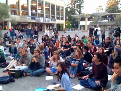Students gathered in Lower Sproul Plaza Wednesday evening to plan for an Oct. 24 conference at UC Berkeley regarding the university's budget cuts, furloughs and fee hikes.