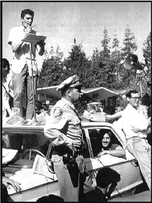 Students hold a police car hostage in 1964 after the arrest of 