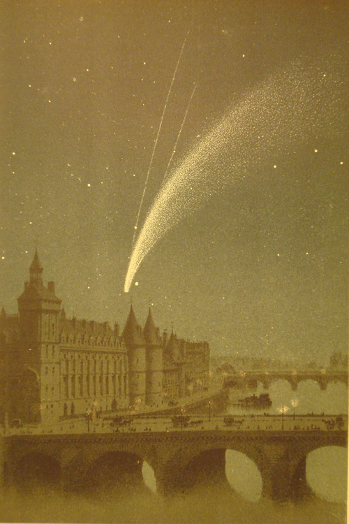 Donati's Comet as seen over Paris above the Palais du Justice, the Conciergerie and the Seine on Oct. 5, 1858, from a plate in The World of Comets, 1877, Amèdée Guillemin.