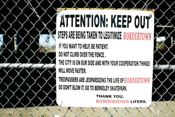 Jakob Schiller: The fence at the Bordertown Skate Park urges skaters to be patient with the political process..