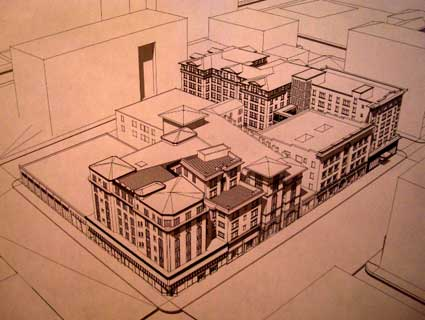 A bird's eye view of the proposed development, with the corner of University and