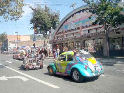 More than 20 art cars rolled up Telegraph Avenue past Amoeba Music