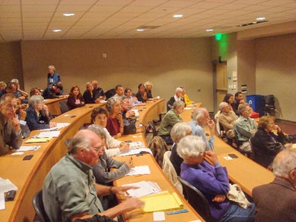 The audience at the forum held in Berkeley City College included many familiar faces from